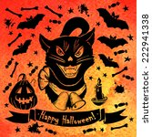 Stock vector halloween card with black cat bright watercolor background vector illustration illustration for 222941338