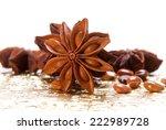 star anise on golden textured... | Shutterstock . vector #222989728