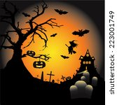 colorful halloween illustration ... | Shutterstock .eps vector #223001749