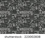 seamless doodle medical pattern | Shutterstock .eps vector #223002838