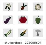 vegetables mini icons set | Shutterstock . vector #223005604