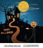 scary silhouette halloween... | Shutterstock .eps vector #223009090