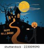 scary silhouette halloween... | Shutterstock .eps vector #223009090