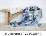 wooden rustic bench with warm... | Shutterstock . vector #223010944