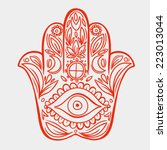 hamsa hand doodle symbol | Shutterstock .eps vector #223013044