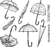 umbrellas sketches | Shutterstock .eps vector #223017988