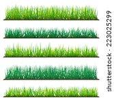 5 backgrounds of green grass ... | Shutterstock .eps vector #223025299