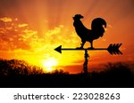 rooster weather vane against... | Shutterstock . vector #223028263