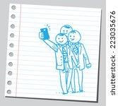 group of businessmen taking... | Shutterstock .eps vector #223035676