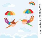 two parachutists | Shutterstock .eps vector #223036690
