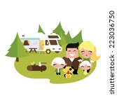 family camping outdoors | Shutterstock .eps vector #223036750