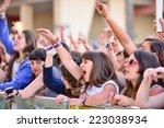 barcelona   may 23  girls from... | Shutterstock . vector #223038934