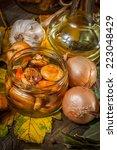 delicious marinated mushrooms ... | Shutterstock . vector #223048429