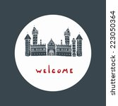 castle welcome circle card eps8 | Shutterstock .eps vector #223050364