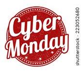 cyber monday grunge rubber... | Shutterstock .eps vector #223052680