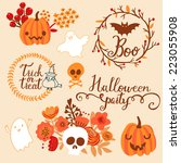 beautiful halloween set in... | Shutterstock .eps vector #223055908