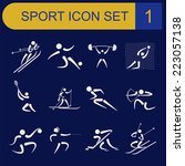sport icon set. flat style.... | Shutterstock .eps vector #223057138