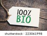 hundred percent bio inscription.... | Shutterstock . vector #223061998
