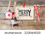 merry christmas inscription....   Shutterstock . vector #223064020