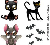 Cat And Bat Halloween Icons
