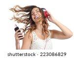 happy girl dancing and... | Shutterstock . vector #223086829