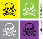 Scull And Bones Isolated Icons...