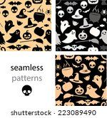 set of seamless black  grey and ... | Shutterstock .eps vector #223089490