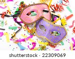 carnival masks and colorful confetti on white - stock photo