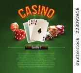 pocker casino gambling set with ... | Shutterstock .eps vector #223092658
