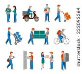delivery person freight... | Shutterstock .eps vector #223093264