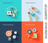 marketer flat icons set with... | Shutterstock .eps vector #223093729