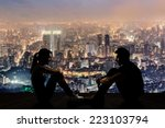 Silhouette Of Young Couple Fac...