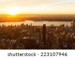 New York City At Sunset  Usa
