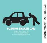 pushing broken car graphic...   Shutterstock .eps vector #223108063