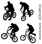 bicycle collage. boy on bmx... | Shutterstock . vector #223118416