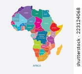 africa map with name of the... | Shutterstock .eps vector #223124068