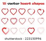 15 heart shapes vector...   Shutterstock .eps vector #223150996