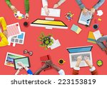 people working in a conference... | Shutterstock . vector #223153819