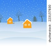 winter landscape with houses. | Shutterstock .eps vector #223157830