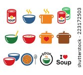 soup in bowl  can and pot  ... | Shutterstock .eps vector #223172503