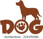 dog brown silhouette over text... | Shutterstock .eps vector #223190386
