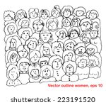 women's outline  faces | Shutterstock .eps vector #223191520