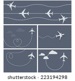 plane flight   dotted trace of... | Shutterstock .eps vector #223194298