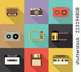 retro icon  flat design vector... | Shutterstock .eps vector #223194808