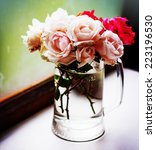 beautiful roses in a vase  in... | Shutterstock . vector #223196530