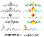 doodle and color christmas... | Shutterstock .eps vector #223203424