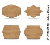 set of shapes wooden sign... | Shutterstock .eps vector #223210129