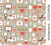 seamless pattern of medical and ... | Shutterstock . vector #223210936