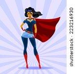 beautiful superwoman in a blue... | Shutterstock .eps vector #223216930
