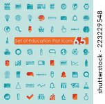 set of education flat icons | Shutterstock . vector #223229548